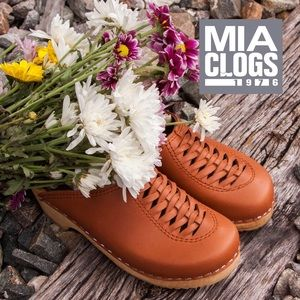 MIA SWEDISH CLOGS HEIDI MULES 36 LUGGAGE LEATHER